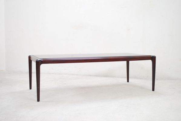 Large Vintage Mahogany Smoked Gl Coffee Table