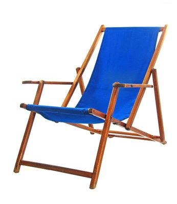 Fantastic Blue Vintage Adjustable Beach Chair Home Remodeling Inspirations Basidirectenergyitoicom