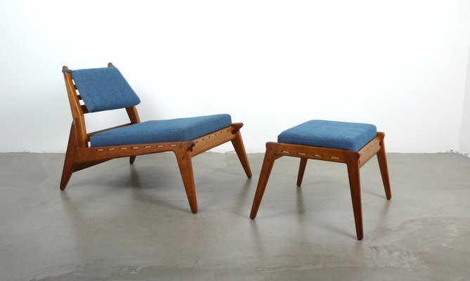 Merveilleux Vintage German Low Lounge Chair With Ottoman, 1950s 1
