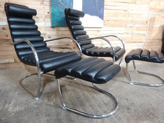 Marvelous Italian Tubular Black Leather Lounge Chair With Ottoman 1980S Pabps2019 Chair Design Images Pabps2019Com