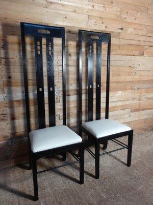 Sedia con schienale alto Art Nouveau nera di Charles Rennie ...