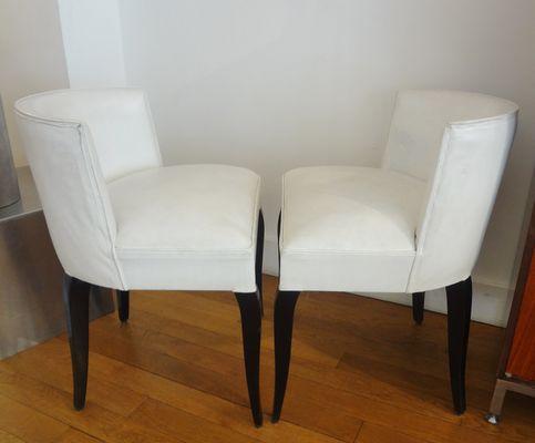 Sedie Bianche Design : Sedie vintage bianche di jacques adnet anni 30 set di 2 in