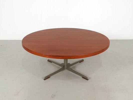 Mid Century Round Teak Coffee Table, 1960s 1