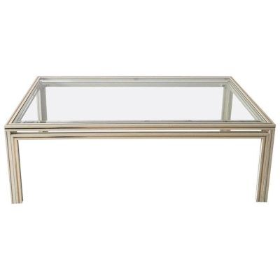 Vintage Parisian Rectangular Glass Coffee Table, 1970s