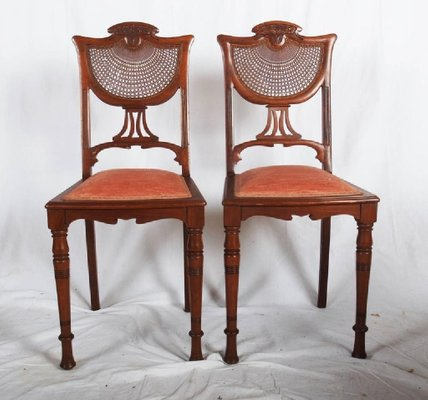 French Art Nouveau Walnut Side Chairs 1900s Set Of 2 For Sale At