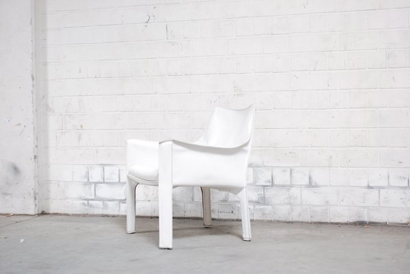 Vintage White Cab 414 Lounge Chair By Mario Bellini For Cassina 2