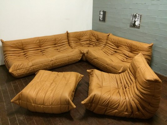 Tobacco Colored Leather Togo Living Room Set by Michel Ducaroy for ...