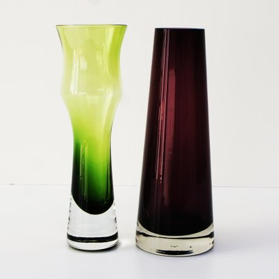 Vintage Green And Pink Glass Vases From Riihimen Set Of 2 For Sale