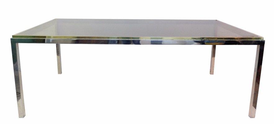 Table De Salle A Manger Vintage Rectangulaire En Laiton Chrome