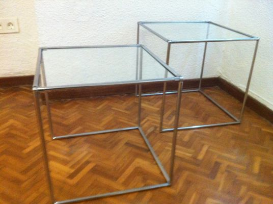 Mid century minimalist chrome glass nesting tables 1960s set of mid century minimalist chrome glass nesting tables 1960s watchthetrailerfo