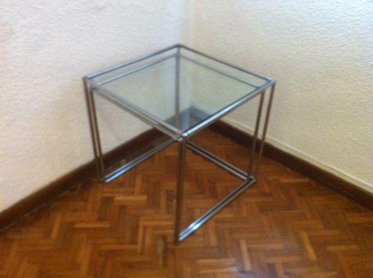 Mid Century Minimalist Chrome U0026 Glass Nesting Tables, 1960s, ...