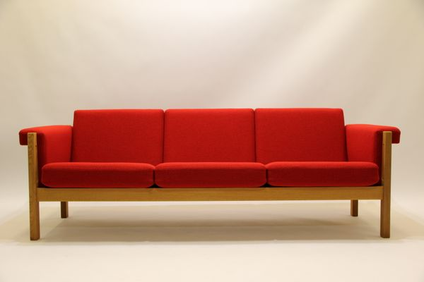 Mid Century Ge40 Oak 3 Seater Couch By Hans J Wegner For Getama