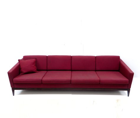 Large Vintage Burgundy Four Seater Sofa 2