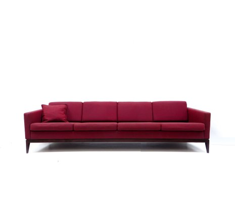 Large Vintage Burgundy Four Seater Sofa 1
