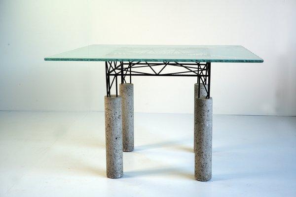 Italian glass furniture Nella Vetrina Italian Glass Concrete Concrete Iron Table Pamono Italian Glass Concrete Concrete Iron Table 1980s For Sale At Pamono