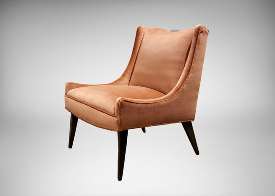 Slipper Chair In Rosy Salmon Velvet By Harvey Probber, 1960s 1