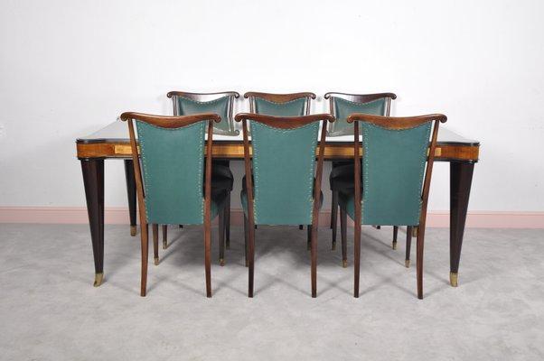 Sedie Per Tavolo Di Vetro.Tavolo Da Pranzo Vintage In Vetro Con Sei Sedie Di Paolo Buffa Italia Anni 50