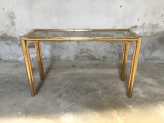Consolle in metallo a forma di bamboo e vetro, anni \'70 in vendita ...