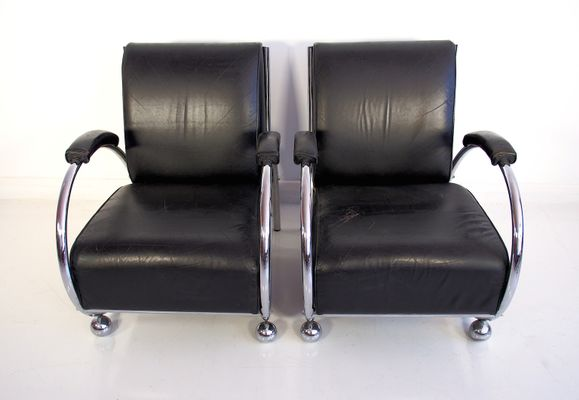 Mid Century Black Leather Armchairs With Tubular Chrome Plated Steel Frame Set Of