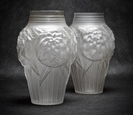 Art Deco Glass Vases From Mller Frres 1920s Set Of 2 For Sale At