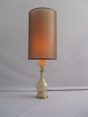 Vintage Glass Table Lamp With Brass Detailing 2