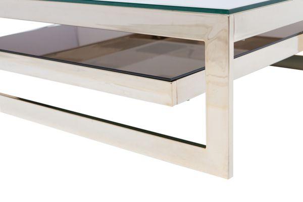 Carrée Deux Niveaux Basse Table À Or Plaquée M20001970s De ZukiPX