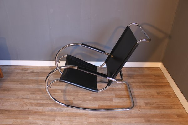 Mid Century Steel Tube Rocking Chair By Mies Van Der Rohe For Knoll