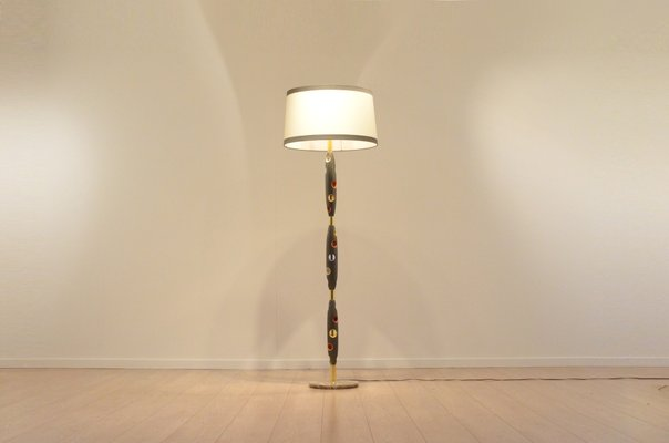 Mid Century Italian Multicolor Lacquered Wood Brass Floor Lamp