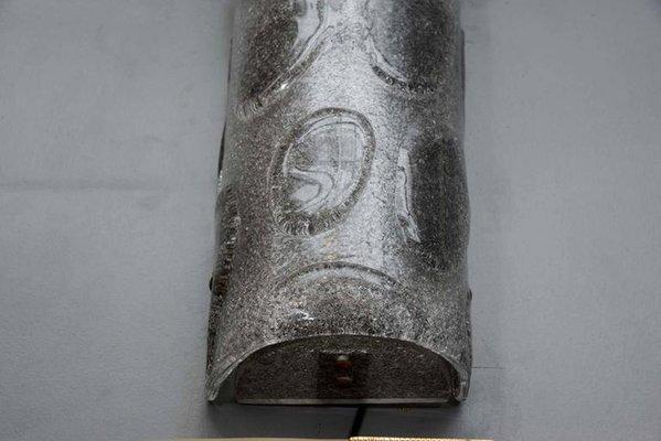 Applique da parete mid century in vetro di murano grigio set di
