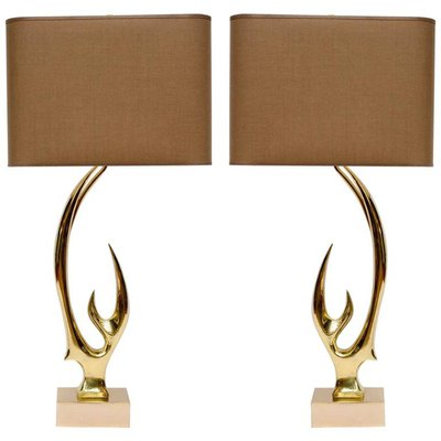 Brass Antler Table Lamps By Willy Daro, Set Of 2 1