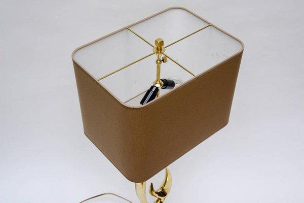 Lampade da tavolo con corna di cervo in ottone di willy daro set