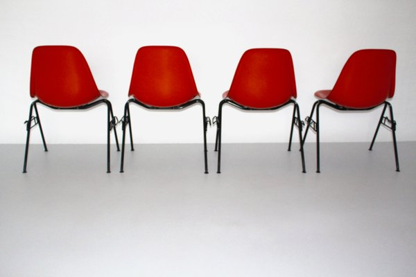 Red DSS N Side Chairs by Charles & Ray Eames for Herman Miller, 1950s, Set of 4