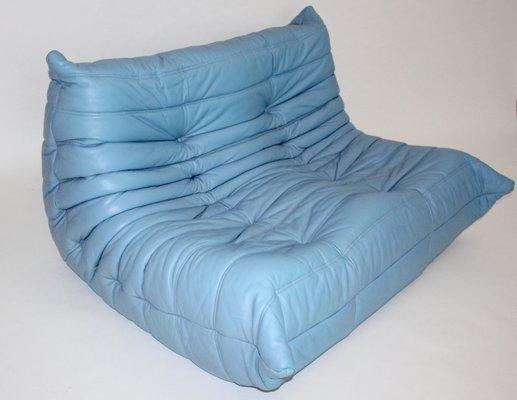 Blaues Vintage Leder Love Seat Togo Von Michel Ducaroy Für Ligne