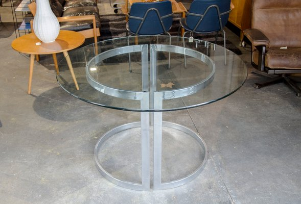 Chrome Dining Table With Glass Top By Milo Baughman 1970s For Sale At Pamono