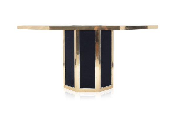 Tavolo da pranzo ottagonale in ottone di Roche Bobois, anni \'70 in ...