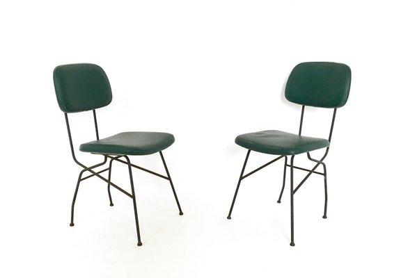 Sedie in metallo e similpelle italia anni 50 set di 4 in vendita