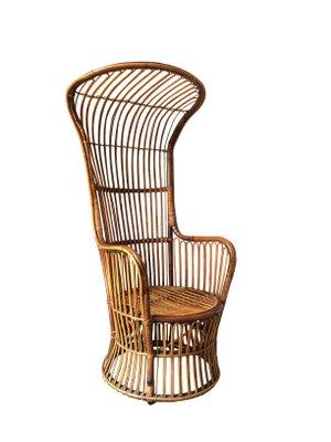 Italian High Back Rattan Woven Armchair From Bonacina 1950s For
