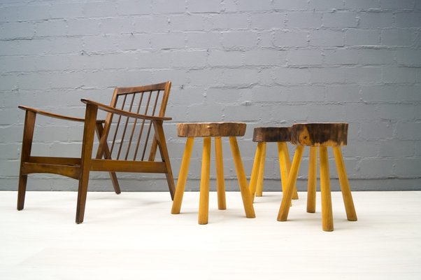 Sgabelli vintage in legno francia anni 60 set di 3 in vendita su