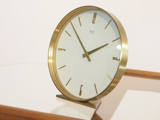 Merveilleux Mid Century Brass Table Clock From Kienzle 2