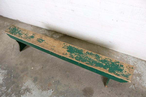 Superb Vintage Industrial Green Wooden Bench Beatyapartments Chair Design Images Beatyapartmentscom