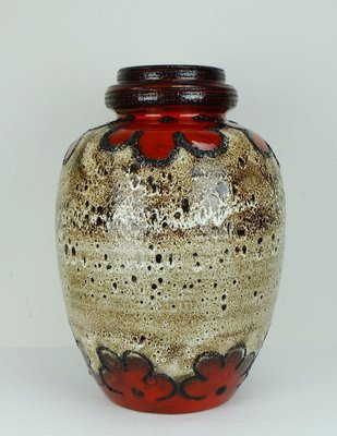 Vintage Floor Vase With Fat Lava Glaze From Scheurich 1