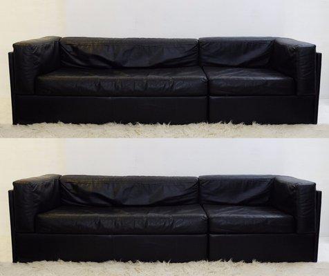 Vintage Black Leather Sofas Set Of 2 1