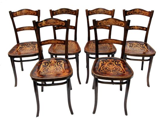 Exceptionnel Antique Decorated Bentwood Dining Chairs From Thonet, Set Of 6 1
