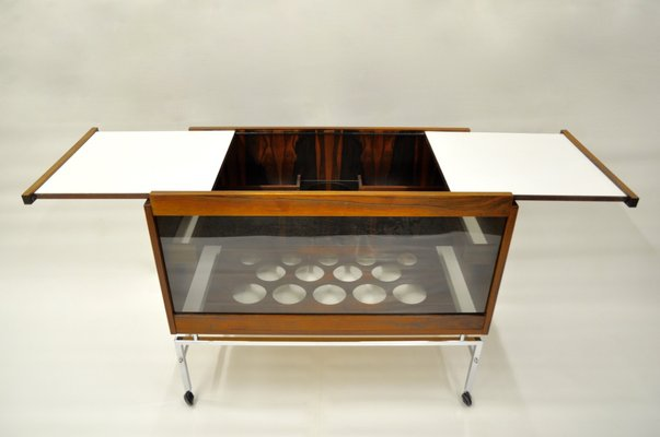 Mid Century Bar Cart With Extendable Table Leaves 1