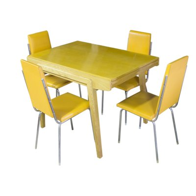Czech Vintage Folding Dining Table With Four Chromed Chairs 1960s
