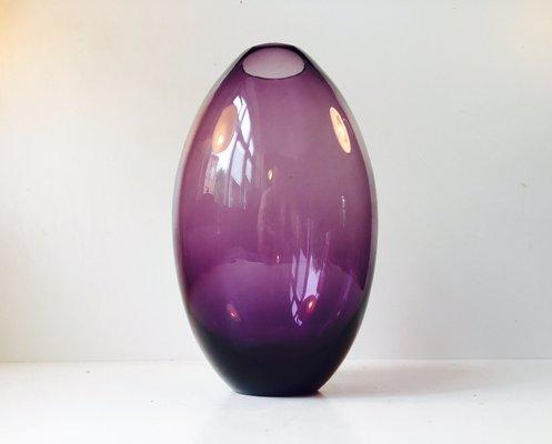 Scandinavian Modernist Teardrop Shaped Purple Glass Vase 1970s For