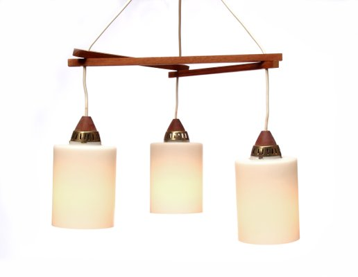triangle teak hanging lamp 1960s 1 - Hanging Lamp