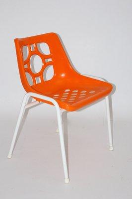Sedie Da Esterno In Plastica.Sedie Da Giardino In Plastica Arancione Anni 70 Set Di 6 In