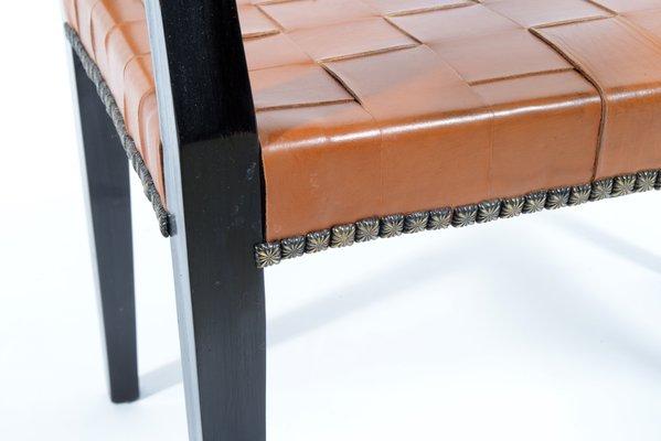 Sgabelli con sedute in pelle intrecciata italia anni set di