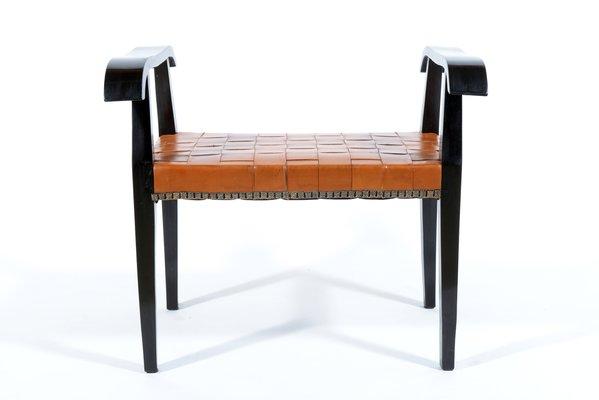 Sgabelli con sedute in pelle intrecciata italia anni 40 set di 2